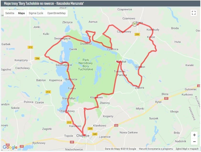 Mapa ścieżki rowerowej - Kaszubska Marszruta