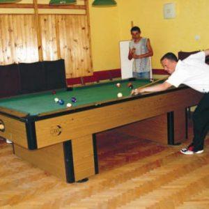 Kompleks Wypoczynkowy ZACISZE – Nasi goście mają do dyspozycji stół do bilarda, przy którym mogą świetnie się bawić i dopracowywać swoje umiejętności.