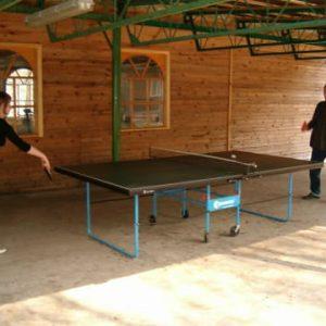 Kompleks Wypoczynkowy ZACISZE – Nasi goście mają do dyspozycji profesjonalne stoły do gry w ping ponga, przy których spędzą aktywnie wolny czas.